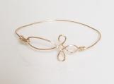 Gold Non-Tarnish Wire Cross Bracelet - Single Wire Bangle