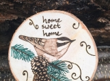 Home Sweet Home Chickadee Bird Magnet,Wood Fridge Magnet