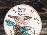 Home Sweet Home Chickadee Bird Magnet,Wood Fridge Magnet