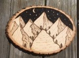 Mountain Scene Wood Sign,Woodland Wall Sign,Wood Burned Signs