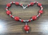 Oval bead necklace, Red oval bead necklace, beaded jewelry