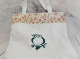 Owl and floral tote| Bird| owl shopping bag| embroidery owl