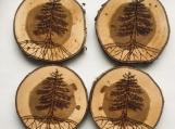 Pine Tree Coasters,Wood Drink Coasters,Nature Coasters,Woodburn