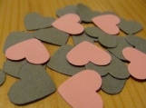 Pink and Grey Heart Confetti, party decorations