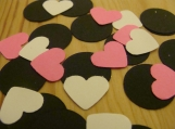 Pink, White and Black Heart Confetti