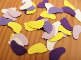 Purple and Yellow Baby Feet Confetti
