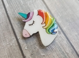 Rainbow Unicorn Pin - Wooden Jewelry - Hand painted unicorn