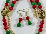 Red bead necklace, Green bead necklace, Christmas theme jewelry