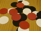 Red, white, black circle confetti