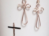 Rose Gold Non-Tarnish Wire Cross Earrings