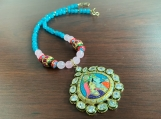 Semiprecious gemstone jewellery with Indian Tanjore art pendant