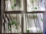 Square plates, fused glass, white, green, black