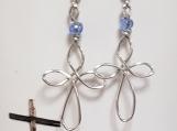 Sterling Silver-Fill Wire Cross Earrings