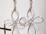 Sterling Silver Wire Cross Earrings
