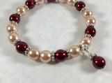 Stretch bracelet, Czech bead bracelet, Pearl bead bracelet