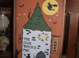 """Old Witch's Pub""     primitive wood sign"