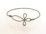 Vintg. Bronze Non-Tarnish Wire Cross Bracelet-Single Wire Bangle