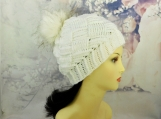 Winter white hat| Basket weave| 6-10 yrs old