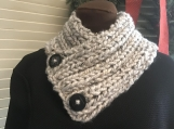 Women's Collar/Cowl Scarf - Light Grey Tweed