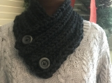 Women's Knitted Collar/Cowl Scarf - Black
