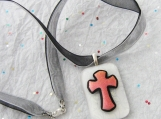 Dichroic and Sterling Silver Cross Pendant and Double Ribbon Necklace