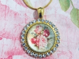 Rhinestone Cabochon Floral Necklace