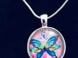 Butterfly Glass Art Necklace