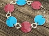 Raspberry & Turquoise Enamelled Copper Bracelet