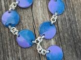 Enamelled Copper Bracelet - Lavender & Turquoise
