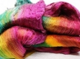 hand dyed Mulberry Silk Lap Fiber  - silk fibers for spinning.