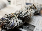 handmade Recycled Newspaper Yarn.