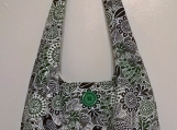Handmade Tote Bag, Shoulder Bag, Bird and Flower Print  Bag