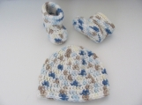 Little Boy Blue Moccasins & Beanie 3-6mo