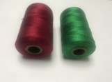 Pure Silk Yarn Thread Red Green Christmas - 2 ply, 50 GMS