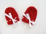 Red Mary Jane Booties & Mittens 0-3 Mo.