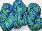 Roving silk hand tie and dye yarn.