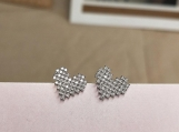 Sterling Silver Cute Shinny Big Heart Stud Fashion Earrings