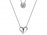 Sterling silver Cz and heart layered necklace