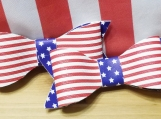 American flag pigtail bow set