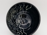 Black bowl with sgraffito