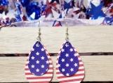 Double layer american flag earrings