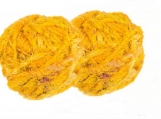 Recycled Sari Silk Bulky Yarn Super Saver pack of 2 balls YELLOW