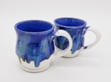 10 ounce White and Blue Mug set