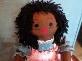 """20"""" Ebony-Hand Crafted Classic Cloth Raggedy Ann Doll"""