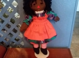 "20"" Hand Made Cloth Ebony Raggedy Ann Doll"