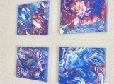 Set of Four 12 x 16 Abstract Acrylic Pour Painting