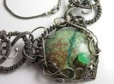 All Intertwined Necklace - Sterling and Fine Silver Wrapped with Chrysocholla/Quartzite, Chrysoprase and Apatite