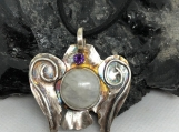 Angel Pendant made of Fine Silver .999, Moonstone and Amethyst