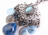 Around Midnight Necklace - London blue topaz, Labradorite and SIlver Necklace