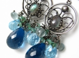 Morning Flash - Sterling, blue topaz and labradorite earrings